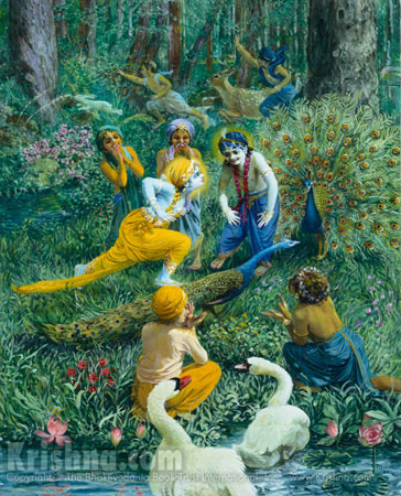 Krishna And The Cowherd Boys Play In The Forest