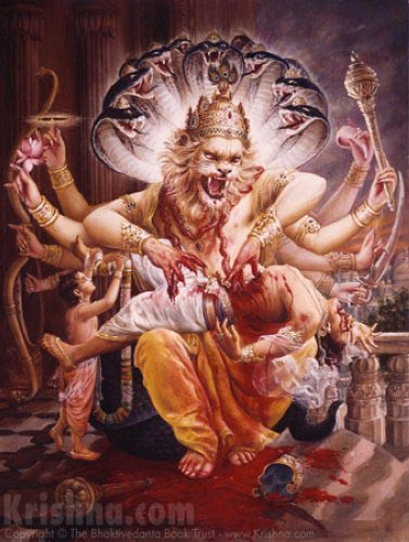 Lord Nrsimhadeva Slays The Demon Hiranyakashipu