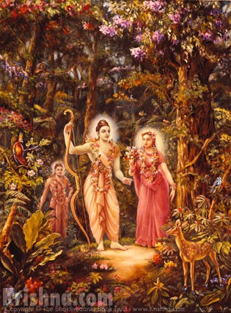 Sita, Rama, and Lakshman in the Forest