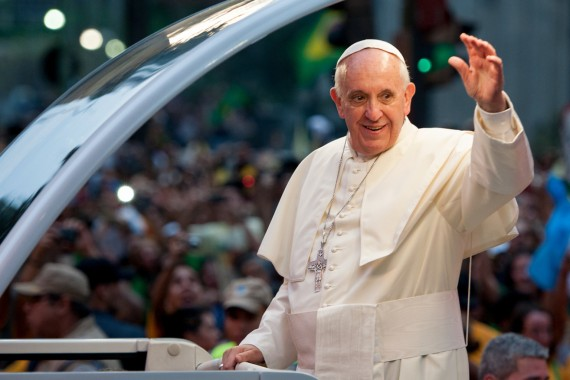 Pope Attends Welcoming Ceremony in Rio de Janeiro