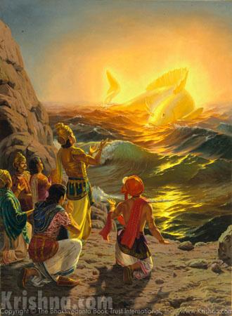 Vaivasvata Manu Worships Lord Matsya