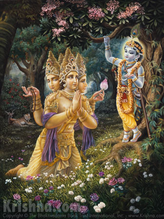 Brahma Offers Obeisances to Lord Krishna