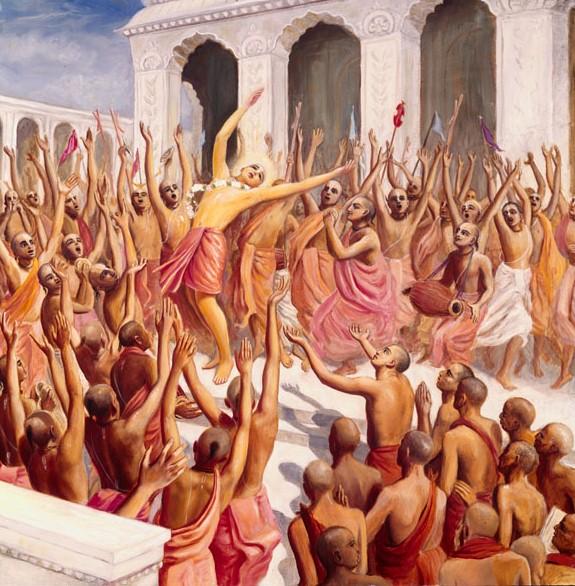 Prakashananda e seus discípulos juntam-se ao canto e à dança do Senhor Chaitanya e Seus associados